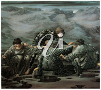 Royalty Free Clipart Image of the Painting Perseus and the Graiae by Edward Burne-Jones