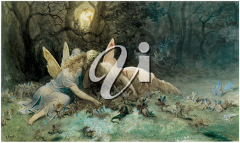 Royalty Free Clipart Image of The Fairies: A Scene Drawn from William Shakespear by Gustave Dore