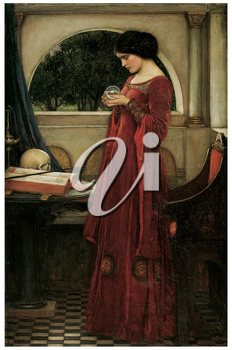 Royalty Free Clipart Image of The Crystal Ball by John William Waterhouse