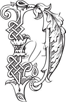 Royalty Free Clipart Image of an Ornate Letter D