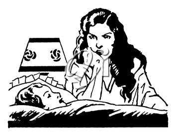 Royalty Free Clipart Image of a Mother Telling her Daughter a Bedtime Story