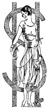 Royalty Free Clipart Image of a Woman Tied to a Dollar Sign