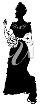Royalty Free Silhouette Clipart Image of a Woman in Formal Wear