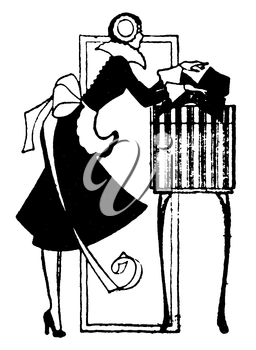Royalty Free Clipart Image of a Woman Preparing a Gift