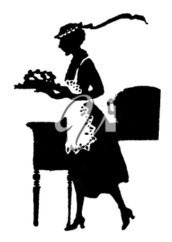 Royalty Free Silhouette Clipart Image of a Woman Carrying Food