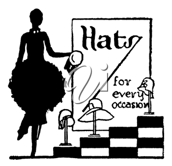 Royalty Free Silhouette Clipart Image of a Vintage Hat Advertisement
