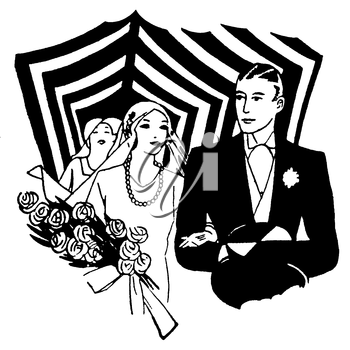 Royalty Free Clipart Image of a Newly Wed Couple Walking Down the Aisle