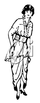 Royalty Free Clipart Image of a Woman in Formal Ware