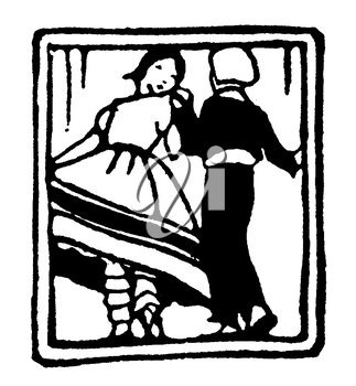 Royalty Free Clipart Image of a Portrait of a Couple Dancing