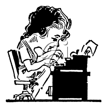 Royalty Free Clipart Image of a Cartoon Woman Sitting at a Desk Typing on a Typewriter