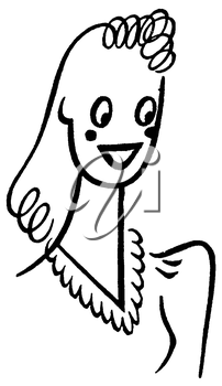 Royalty Free Clipart Image of a rtrait of a Cartoon Woman