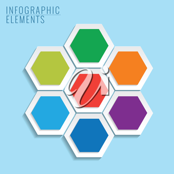Infographic with honeycomb structure on the blue background.