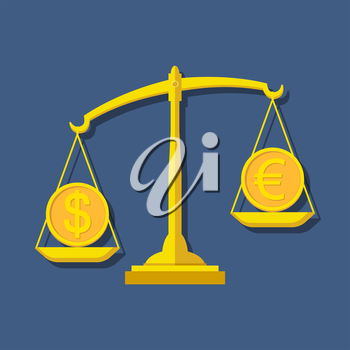 Scales with Dollar and Euro symbols. Foreign exchange forex concept. Vector illustration.
