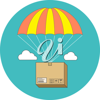 Package flying on parachute, delivery service concept. Flat design. Icon in turquoise circle on white background