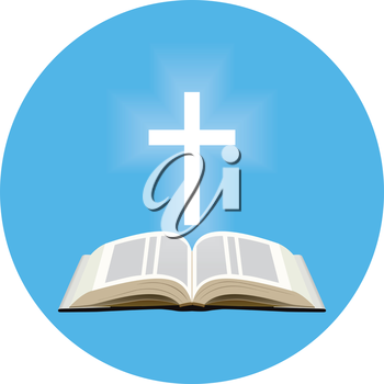 Bible and shining cross concept. Icon in blue circle on white background