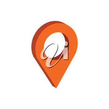 Map Pointer symbol. Flat Isometric Icon or Logo. 3D Style Pictogram for Web Design, UI, Mobile App, Infographic. Vector Illustration on white background.
