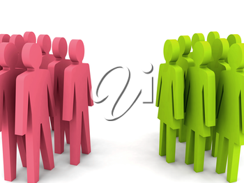 Groups of men and women. Concept 3D illustration.