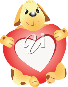 Illustration of a dog with a heart on a white background