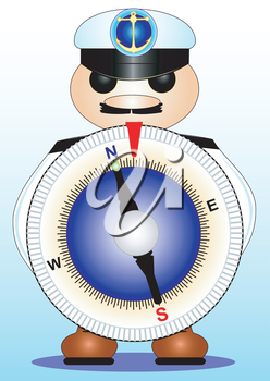 Illustration funny a compass in a sea peak-cap