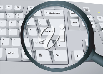 Illustration of the computer keyboard the increased magnifier
