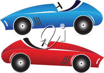 Illustration of of toy racing car on a white background