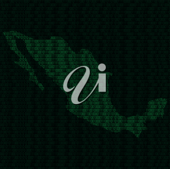 Illustration of silhouette of Mexico from binary digits on background of binary digits