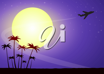 Illustration of airplane silhouette on a moonlit night against a starry sky with palm trees