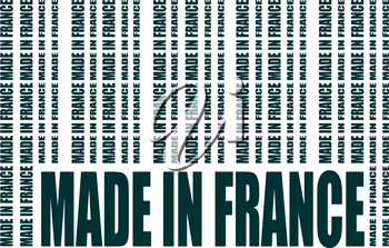 Made in France  in bar code. Lines consist of same words