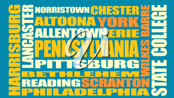 Image relative to USA travel. Pennsylvania cities and places names cloud.
