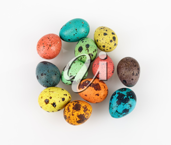 Painted Easter eggs on a light background. Top view.