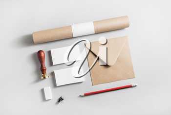 Blank stationery set on paper background. Corporate identity template. Mock-up for branding identity. Top view.