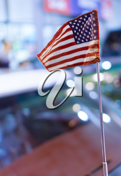 Vertical vivid USA flag bokeh background