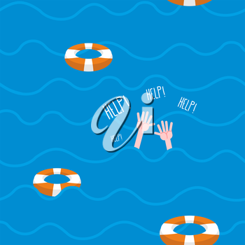 Man drowns  seamless pattern. Lifebuoy on waves of sea. Texture of sinking man raised his hands and screams-Help. Hands protrude from water.