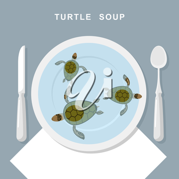 Turtle soup. Sea turtles swim in plate. Exotic popular Food top view. Cutlery: spoon and knife. Vector illustration of delicatessen food.