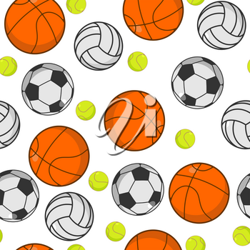 Sports ball seamless pattern. Balls ornament. Basketball and football. Tennis and volleyball. Sport background. sporting texture