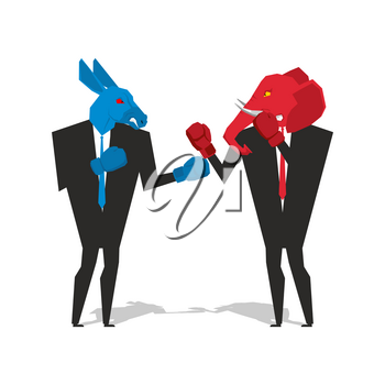 Donkey and elephant are boxing. Democrat and Republican fight. Businessmen combat in business suit and boxing gloves. Battle of the red and blue donkey elephant. Allegory of political parties in Ameri