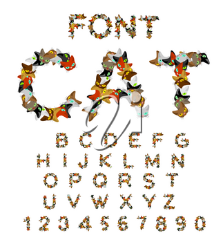 Cat font. catlike ABC. letters of cats. Pet alphabet. Pets typography
