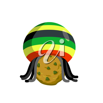 Rasta cookies. Rastafarian hat and dreadlocks and biscuit. Reggie food. drug sweets. Jamaican Sweets. Rastafarians treat