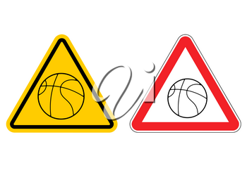 Warning sign basketball attention. Dangers yellow sign game. ball is red triangle. Set of road signs