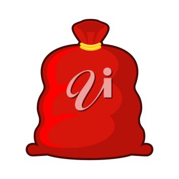 Red sack of Santa Claus. Big Fat Christmas gift bag. Illustration for new year
