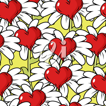 Flower of love seamless pattern. Flower meadow. Ornament from hearts and Chamomile