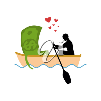 Man and money and ride in boat. Lovers of sailing. Man rolls cash on gondola. Appointment of dollar in boat on pond. Romantic financial currency illustration