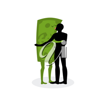 Kiss money. Man embraces dollar. Hot kiss on date with paper bills. Love in cash. Romantic financial currency illustration