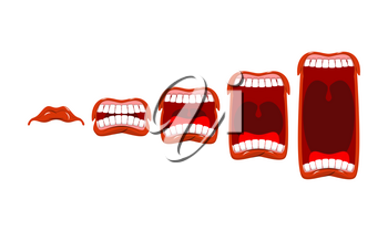 Changes in sound level. Volume yelll. Stage scream. Open mouth with tongue and teeth.