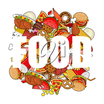 Food doodle. many feed. Pile sign of meat. Pizza and tacos. French fries and  hamburger. Hotdog and cookies. Baked turkey and watermelon. Pork and cake. Donuts and dumplings
