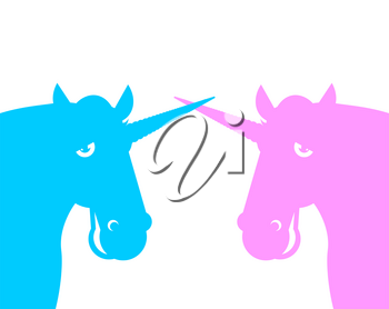 Two unicorn. Pink fanatical beast. Blue fabulous animal with horn.