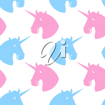 Unicorn seamless pattern. Blue fabulous beast with horn ornament. Pink magic animal background. Texture of fabric