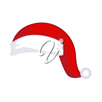 Santa Claus cap isolated. Christmas red hat. Xmas design template