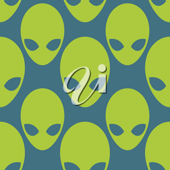 Alien seamless pattern. Space invaders background. UFO texture