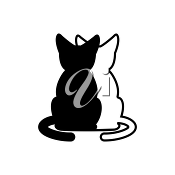 Cat lovers embrace sign. Logo veterinary clinic or petshop.  Black and white cats uddle.